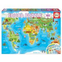 Educa Puzzle Mapa mundo de monumentos - 18116