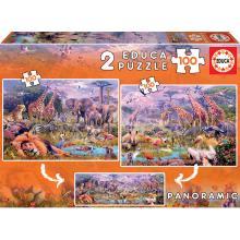 EDUCA Puzzle 2x100 peças: Animais Selvagens - 18606