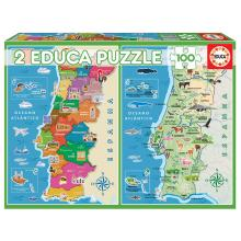 Puzzle 2x100 Mapa Distritos + Físico Portugal - 18297 - EDUCA